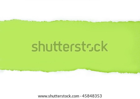 Torn Paper Strip on Green