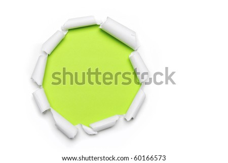 Torn Paper with circlet's shape and green background with space for text