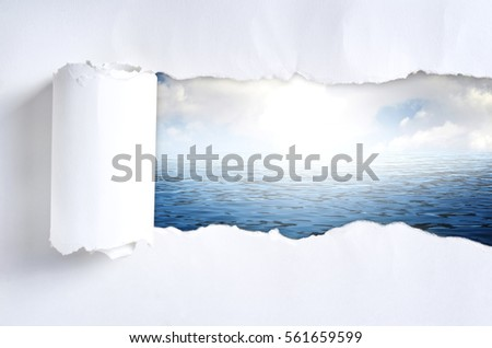 Torn paper with nature in opening background #561659599
