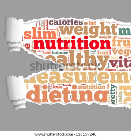 Torn Paper with nutrition info-text graphics and arrangement concept on white background (word cloud)