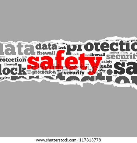 Torn Paper with safety info-text graphics and arrangement concept on white background (word cloud)