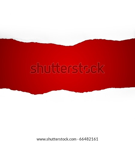 Torn Paper with space for text on red background