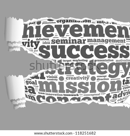 Torn Paper with success info-text graphics and arrangement concept on white background (word cloud)
