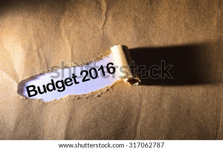 torn paper with word budget 2016 #317062787
