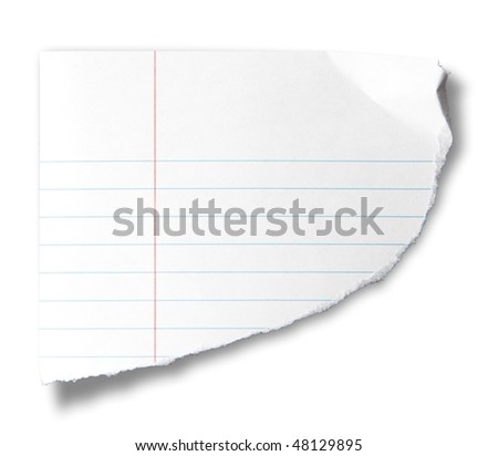 Torn piece of notebook paper, isolated on white.