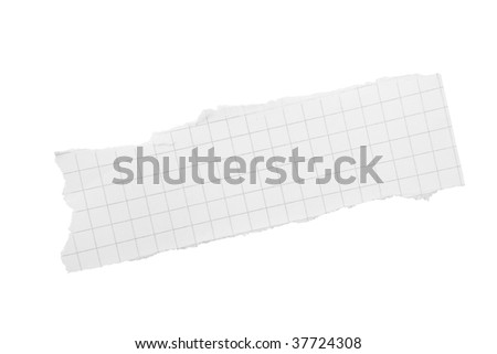Torn piece of squared paper isolated on white background with clipping path