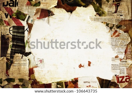 torn poster paper frame grunge background concept