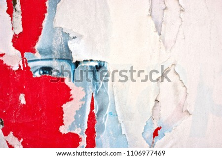 Torn posters grunge creased crumpled paper texture background ripped grunge backdrop surface placard #1106977469