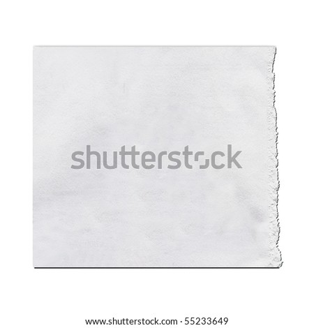 Torn Real Paper Scrap On White Background - stock photo