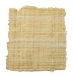 Torn Yellow Brown Papyrus Paper Isolated on White Background.