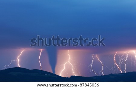 tornado and lightening - stock photo