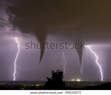 tornado and lightening