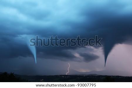tornado and lightening