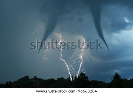tornado and lightening bolt