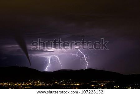 tornado and lightening strike