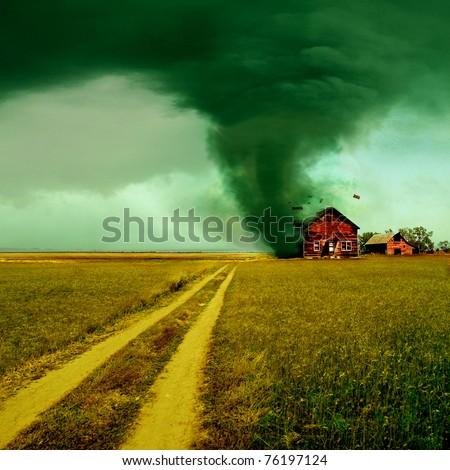 Tornado hitting a house