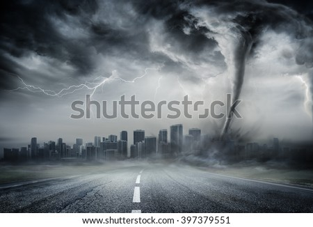 Tornado On The Business Road - Dramatic Weather On City