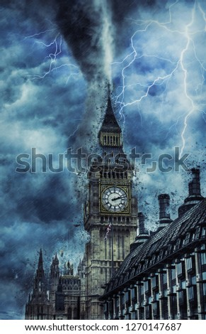 Tornado on Westminster Abbey - Dramatic Weather on City, tornado and lighting in England, creative picture
