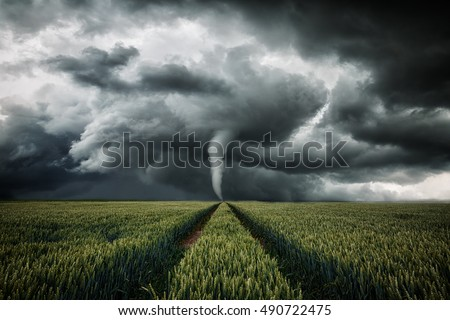 Tornado raging over a landscape - storm over cornfield