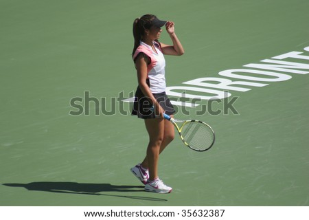TORONTO - AUGUST 19: Aravane Rezai (picture) of France plays against Dinara Safina of Russia at the Rogers Cup on August 19, 2009 in Toronto, Canada.