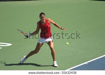 TORONTO - AUGUST 19: Dinara Safina (picture) of Russia plays against Aravane Rezai of France at the Rogers Cup on August 19, 2009 in Toronto, Canada.
