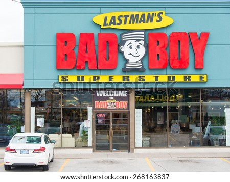 TORONTO,CANADA-APRIL 4,2015: Lastmans Bad Boy Store facade. This successful furniture store chain was founded by former Toronto Mayor Mel Lastman who led the city till 2003.