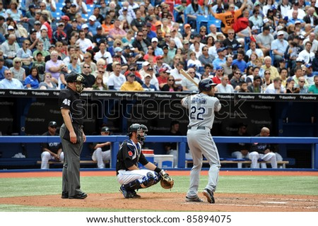 TORONTO, CANADA - AUG 28:  Johnny Damon of the Tampa Bay Rays during a game against the Toronto Blue  Jays at the Rogers Centre on August 28, 2011 in Toronto, Ontario, Canada.