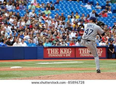 TORONTO, CANADA - AUG 28:  Pitcher Brandon Gomes of the Tampa Bay Rays in action during a game against the Toronto Blue  Jays at the Rogers Centre on August 28, 2011 in Toronto, Ontario, Canada.