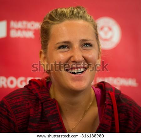 TORONTO, CANADA - AUGUST 13 :  Victoria Azarenka talks to the media at the 2015 Rogers Cup WTA Premier 5 tennis tournament