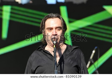 TORONTO, CANADA - JUL 16:  Brad Roberts of The Crash Test Dummies performs at the Live Green Toronto Festival Yonge-Dundas Square on July 16, 2011 in Toronto, Canada.