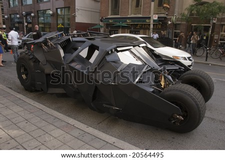 TORONTO, CANADA, JULY, 2008 - The batmobile driven by Christian Bale in the Batman sequel The Dark Knight is exhibited in the city streets during a promotional campaign.