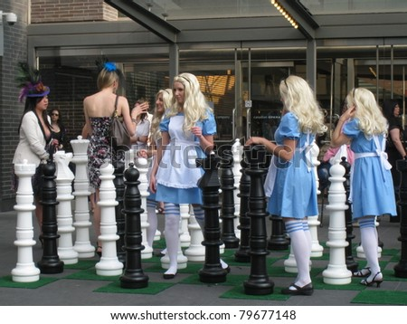 TORONTO, CANADA - JUNE 21: Alice In Wonderland performers of the National Ballet of Canada ready to perform at the Canadian Opera Theatre on June 21, 2011 in Toronto, Canada