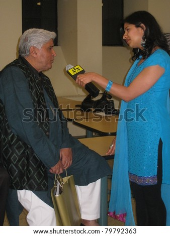 TORONTO, CANADA - JUNE 23: Javed Akhtar at 'Bollywood, Hollywood And Beyond' on June 23, 2011 in Toronto. A pre-event to the Indian International Film Academy (IIFA) Awards to be held on June 25, 2011