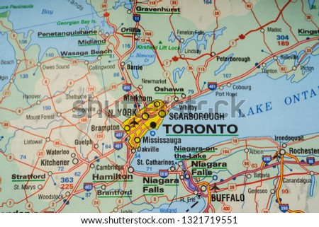 Map with pin point of Toronto in Canada Free Images and ...