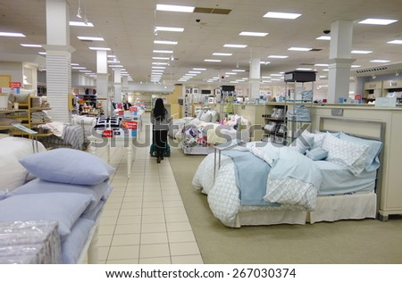 TORONTO, CANADA - MARCH 25, 2015: Mattress and bedding department in a department store in Toronto, Canada.