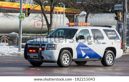 TORONTO,CANADA-MARCH 14, 2014: Toronto Emergency Medical Services provides emergency ambulance service to the City of Toronto when somebody calls 911 for a medical emergency