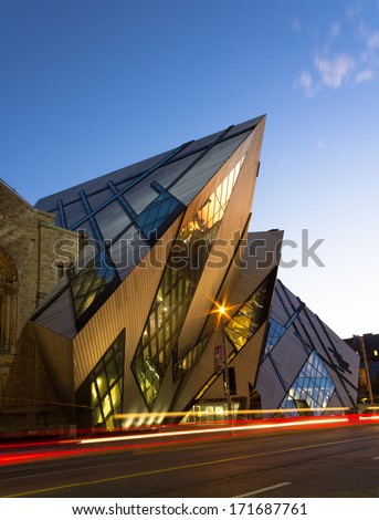 TORONTO CANADA OCTOBER 16 2013 The Royal Ontario Museum in Toronto at night on 16th October 2013