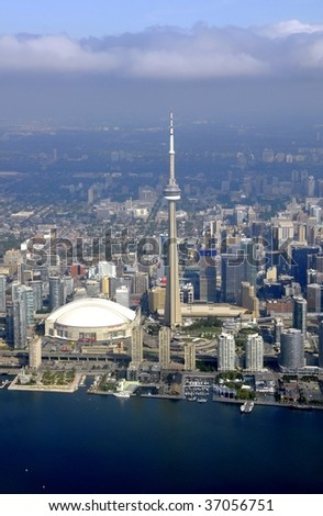 TORONTO, CANADA - SEPTEMBER 14: Aerial view of Rodgers Centre and downtown area September 14, 2009 in Toronto, Canada.