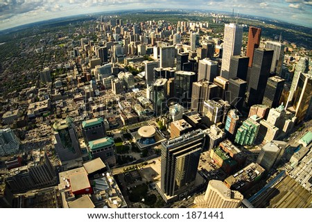 Toronto City Center - Aerial photograph - Fisheye - stock photo