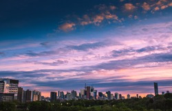 TORONTO CITY SKY - Panoramic Toronto city skyline/downtown cityscape under beautiful summer sunset sky. Blue, purple and orange skies. Park/greenery below. Toronto, Ontario, Canada