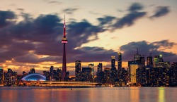 Toronto city skyline at night, Canada