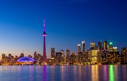 Toronto city skyline at night, Canada