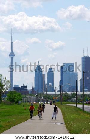 Toronto city skyline with recreation trail - stock photo