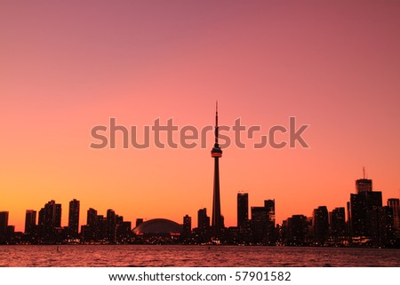 Toronto Cityscape at Night from Central Island