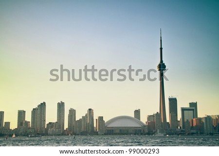 Toronto Cityscape with sunset as background
