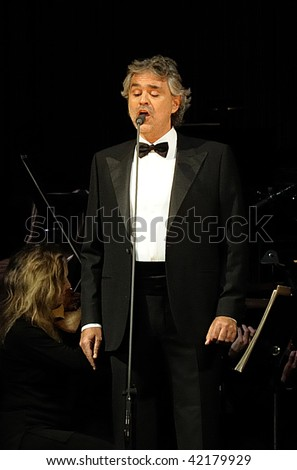 TORONTO - DECEMBER 3: Andrea Bocelli performs at the Air Canada Centre on his first North American Christmas Holiday tour on December 3, 2009 in Toronto. - stock photo