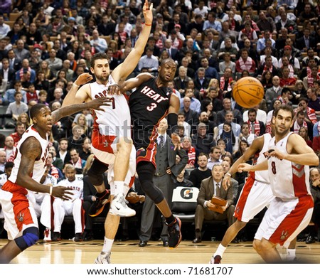 TORONTO - FEBRUARY 16: Dwyane Wade #3 participates in an NBA basketball game at the Air Canada Centre on February 16, 2011 in Toronto, Canada.  The Miami Heat beat the Toronto Raptors 103-95.