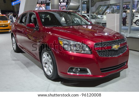 TORONTO-FEBRUARY 25: Exhibition of the Chevrolet Malibu during  the Canadian International Auto Show in  the Toronto Convention Centre on February 25, 2012. This time the show arrives to 38 years.