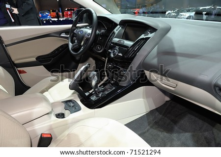 TORONTO-FEBRUARY 17:Ford Focus Electric cockpit at the 2011 Canadian International Auto Show on February 17, 2011 in Toronto - stock photo