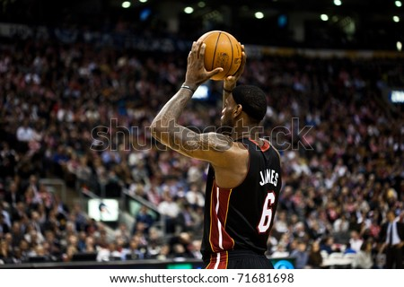 TORONTO - FEBRUARY 16: LeBron James #6 participates in an NBA basketball game at the Air Canada Centre on February 16, 2011 in Toronto, Canada.  The Miami Heat beat the Toronto Raptors 103-95.
